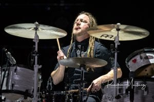 Shinedown drummer Barry Kerch; photo Reuben Martinez